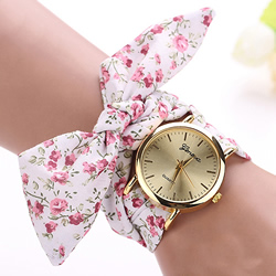 Floral Cloth Band Watch