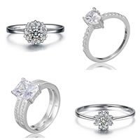 Cubic Zirconia Micro Pave Sterling Silver Rings