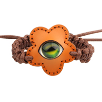 Evil Eye Connector Woven Ball Armband