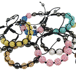 Resin Woven Ball Bracelets, with Nylon Cord & Non Magnetic Hematite & Resin Rhinestone, mixed colors, 12x12mm, Length:7-11.5 Inch, 10Strands/Bag, Sold By Bag