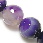 Natural Purple Agate Beads, Round shape, faceted, with fancy lace, 8mm, Hole:Approx 1.2-1.5mm, 5Strand/Group, Length:15 Inch, Sold by Group