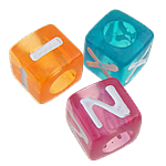 Alphabet Acrylic Beads, Cube, mixed colors, 7x7mm, Hole:Approx 4.5mm, Approx 1950PCs/Bag, Sold By Bag