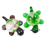 Inner Flower Lampwork Pendants, Turtle, mixed colors, 31x41x17mm, Hole:Approx 7mm, 12PCs/Box, Sold By Box