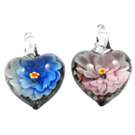 Inner Flower Lampwork Pendants, Heart, mixed colors, 32x30x17mm, Hole:Approx 8mm, 12PCs/Box, Sold By Box