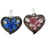 Inner Flower Lampwork Pendants, Heart, hammered, mixed colors, 36x32x12mm, Hole:Approx 8mm, 12PCs/Box, Sold By Box