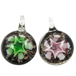 Inner Flower Lampwork Pendants, Coin, mixed colors, 34x12mm, Hole:Approx 7mm, 12PCs/Box, Sold By Box