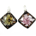 Inner Flower Lampwork Pendants, Rhombus, mixed colors, 38x35x11mm, Hole:Approx 7mm, 12PCs/Box, Sold By Box