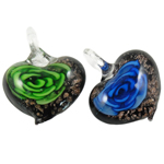 Inner Flower Lampwork Pendants, Heart, mixed colors, 39x30x11mm, Hole:Approx 8mm, 12PCs/Box, Sold By Box