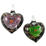 Inner Flower Lampwork Pendants, Heart, mixed colors, 29x35x11mm, Hole:Approx 6mm, 12PCs/Box, Sold By Box