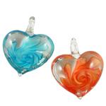 Inner Flower Lampwork Pendants, Heart, 38x34x16mm, Hole:Approx 7mm, 12PCs/Box, Sold By Box