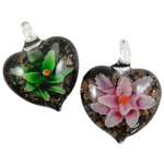 Inner Flower Lampwork Pendants, Heart, mixed colors, 32x40x15mm, Hole:Approx 6mm, 12PCs/Box, Sold By Box