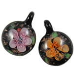 Inner Flower Lampwork Pendants, Coin, mixed colors, 32x32x13mm, Hole:Approx 6mm, 12PCs/Box, Sold By Box