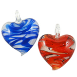 Fashion Lampwork Pendants, Heart, mixed colors, 43x42x12mm, Hole:Approx 7x10mm, 12PCs/Box, Sold By Box
