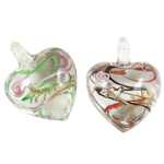 Fashion Lampwork Pendants, Heart, mixed colors, 31x27x19mm, Hole:Approx 5mm, 12PCs/Box, Sold By Box