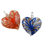 Gold Sand Lampwork Pendants, Heart, mixed colors, 45x46x12mm, Hole:Approx 7mm, 12PCs/Box, Sold By Box