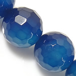 Natural Blue Agate Beads, Round shape, faceted, 10mm, Hole:Approx 1.5-2mm, 5Strand/Group, Length:15 Inch, Sold by Group