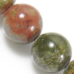 Natural Unakite Beads, Round, 14mm, Hole:Approx 1.2-1.4mm, Length:Approx 15.5 Inch, 5Strands/Lot, Approx 27PCs/Strand, Sold By Lot