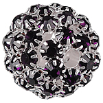 Rhinestone Brass Beads, Round, silver color plated, without troll & with rhinestone & hollow, black, nickel, lead & cadmium free, 26mm, Hole:Approx 4.8mm, Sold By PC