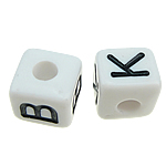 ABS Plastic Alphabet Beads, Cube, mixed pattern, white, 10x10mm, Hole:Approx 4mm, 550PCs/Bag, Sold By Bag