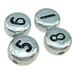 Koraliki plastikowe , Plastik ABS, mieszane, srebro, 7x4mm, otwór:około 1mm, 3500komputery/torba, sprzedane przez torba