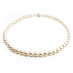 Natural Freshwater Pearl Necklace with Rhinestone brass box clasp Round white Grade AAA 7-8mm Sold Per 17 Inch Strand
