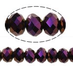 Rondelle Crystal Beads, imitation CRYSTALLIZED™ element crystal, Dark Violet, 6x8mm, Hole:Approx 1.5mm, Length:Approx 16 Inch, 10Strands/Bag, Approx 72PCs/Strand, Sold By Bag