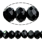 Rondelle Crystal Beads, imitation Swarovski crystal, Jet, 3x4mm, Hole:Approx 1mm, Length:12 Inch, 10Strands/Bag, Sold By Bag