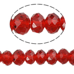 Kryształowe koraliki rondelle, Kryształ, Okrąg, imitacja kryształu CRYSTALLIZED™, szkarłat, 8x10mm, otwór:około 1.5mm, długość:około 21 cal, 10nici/torba, sprzedane przez torba