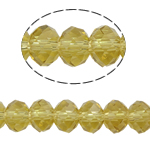 Rondelle Crystal Beads, imitation CRYSTALLIZED™ element crystal, Lt Topaz, 4x6mm, Hole:Approx 1mm, Length:Approx 17 Inch, 10Strands/Bag, Sold By Bag