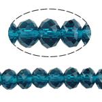 Kryształowe koraliki rondelle, Kryształ, Okrąg, imitacja kryształu CRYSTALLIZED™, indygolit, 6x8mm, otwór:około 1.5mm, długość:około 16 cal, 10nici/torba, sprzedane przez torba