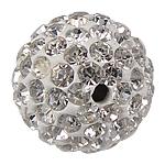 Gliniane koraliki z kryształem górskim, ceglana Pave, Koło, z 130 sztuk kryształu górskiego, 14mm, otwór:około 2mm, 10komputery/torba, sprzedane przez torba