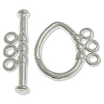 Brass Toggle Clasp, Oval, platinum color plated, 3-strand, nickel, lead & cadmium free, 22x3mm, 11.5x16x1.8mm, Hole:Approx 1.8mm, 100Sets/Bag, Sold By Bag
