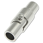 Brass Magnetic Clasp Tube platinum color plated nickel lead   cadmium free 15.50x5mm Hole:Approx 3mm 50PCs/Bag