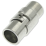 Brass Magnetic Clasp Column platinum color plated nickel lead   cadmium free 15.70x6mm Hole:Approx 5mm 50PCs/Bag
