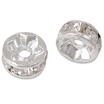Rhinestone Spacers, Brass, silver color plated, with rhinestone, nickel, lead & cadmium free, 5x5x2.50mm, Hole:Approx 1.2mm, 100PCs/Bag, Sold By Bag