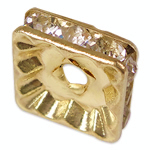 Rhinestone Spacers, Brass, Squaredelle, gold color plated, with rhinestone, nickel, lead & cadmium free, 10x10x3.20mm, Hole:Approx 2mm, 100PCs/Bag, Sold By Bag