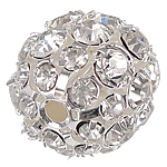 Rhinestone Brass Beads, Round, silver color plated, with rhinestone, nickel, lead & cadmium free, 20mm, Hole:Approx 3mm, 20PCs/Bag, Sold By Bag