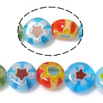 Millefiori Glass Beads, Flat Round, mixed colors, 6x6x3.2-3.5mm, Hole:Approx 1mm, Length:Approx 14.5 Inch, 10Strands/Lot, Sold By Lot