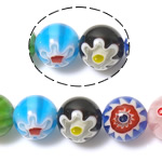 Millefiori Glass Beads, Round, mixed colors, 10mm, Hole:Approx 1mm, Length:Approx 14.2 Inch, 10Strands/Lot, Sold By Lot