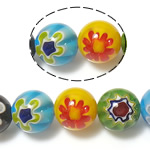 Millefiori Glass Beads, Round, mixed colors, 12mm, Hole:Approx 1mm, Length:Approx 14 Inch, 10Strands/Lot, Sold By Lot