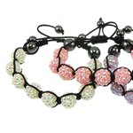 Resin Shamballa Bracelets, with Nylon Cord & Non magnetic Hematite & Resin Rhinestone, woven, mixed colors, 12x12mm, Length:7 Inch, 10Strands/Bag, Sold By Bag