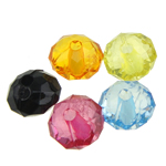 Transparent Acrylic Beads, Rondelle, translucent, mixed colors, 8x5.50mm, Hole:Approx 1mm, 2890PCs/Bag, Sold By Bag