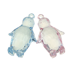 Acrylic Pendants, Penguin, translucent, mixed colors, 30x48x17mm, Hole:Approx 3mm, 55PCs/Bag, Sold By Bag
