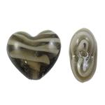 Wewnętrznie skręcone koraliki szklane, Lampwork, Serce, brązowy, 28x26x15mm, otwór:około 3.5mm, 100komputery/torba, sprzedane przez torba