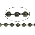 Brass Ball Chain, plumbum black color plated, nickel, lead & cadmium free, 2.40mm, Length:100 m, Sold By Lot