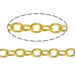 Brass Oval Chain, gold color plated, twist oval chain, nickel, lead & cadmium free, 2.50x2x0.30mm, Length:100 m, Sold By Lot