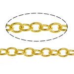 Brass Oval Chain, gold color plated, twist oval chain, nickel, lead & cadmium free, 3x2.50x0.50mm, Length:100 m, Sold By Lot
