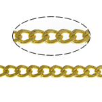 Brass Oval Chain, gold color plated, curb chain, nickel, lead & cadmium free, 2x1.50x0.70mm, Length:100 m, Sold By Lot