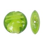 Wewnętrznie skręcone koraliki szklane, Lampwork, Płaskie koło, zielony, 28x12mm, otwór:około 2mm, 100komputery/torba, sprzedane przez torba