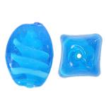 Wewnętrznie skręcone koraliki szklane, Lampwork, Owal, błękit nieba, 17x24mm, otwór:około 2mm, 100komputery/torba, sprzedane przez torba